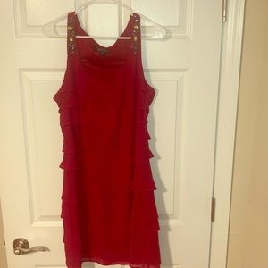 Red Tiered Ruffle Dress w/sparkle detail-SZ 16